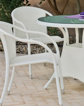 achat vente Salon de jardin BLANC Table 180cm + 6 fauteuils | HEVEA ...