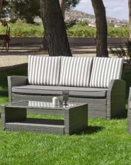 Salon de jardin GRIS RAYE avec canapé 3 places