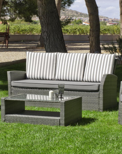 achat ventesalon de jardin gris raye avec canap 3 places hevea mobilier de jardin. Black Bedroom Furniture Sets. Home Design Ideas