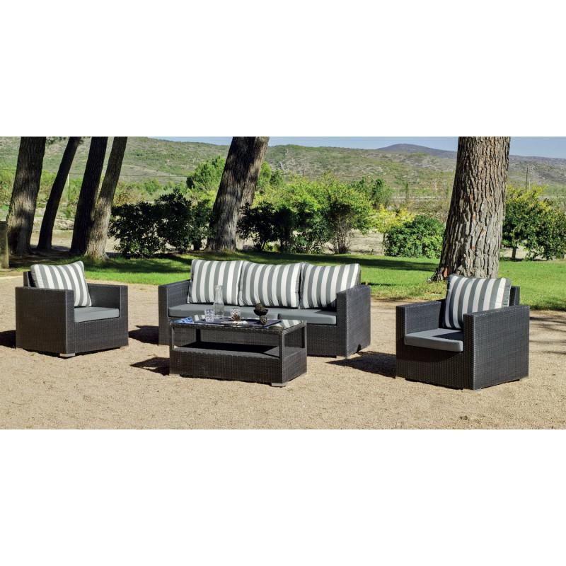 Salon de jardin gris anthracite 5 places r sine tress e hevea mobilier de jardin - Salon gris anthracite ...