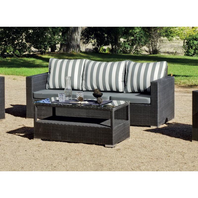 salon de jardin gris anthracite 5 places r sine tress e hevea mobilier de jardin. Black Bedroom Furniture Sets. Home Design Ideas
