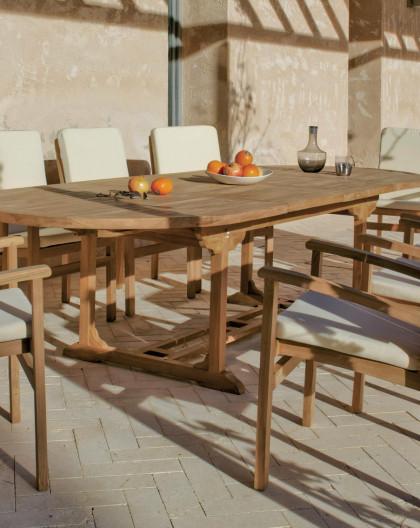 achat vente Salon de jardin BRACO en teck Table extensible 180-300 + 8  fauteuils | mobilierde