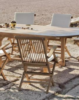 Salon de jardin Bois TECK Table ext 180-240cm + 8 fauteuils