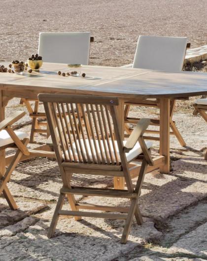 achat vente Salon de jardin Bois TECK Table ext 180-240cm + 8 fauteuils |  HEVEA mobilier de jardin