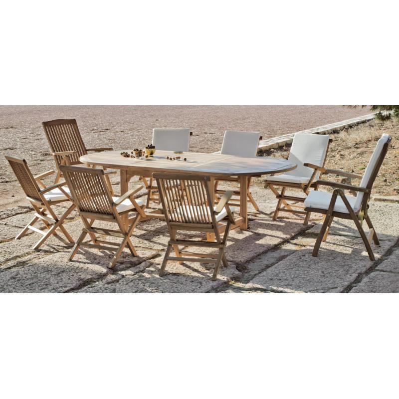 achat vente Salon de jardin Bois TECK Table ext 180-240cm + 8 ...