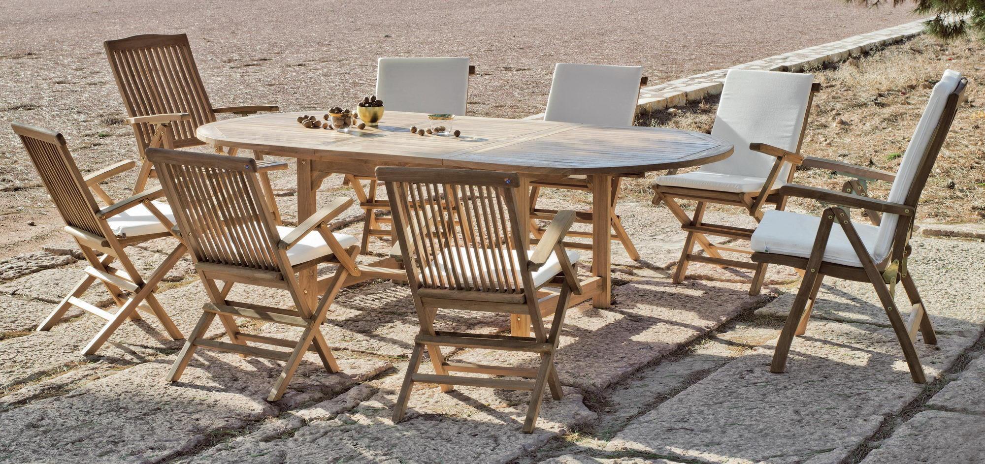 achat vente Salon de jardin Bois TECK Table ext 180-240cm + ...