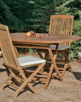 Salon de jardin Bois TECK Table 140cm + 4 chaises
