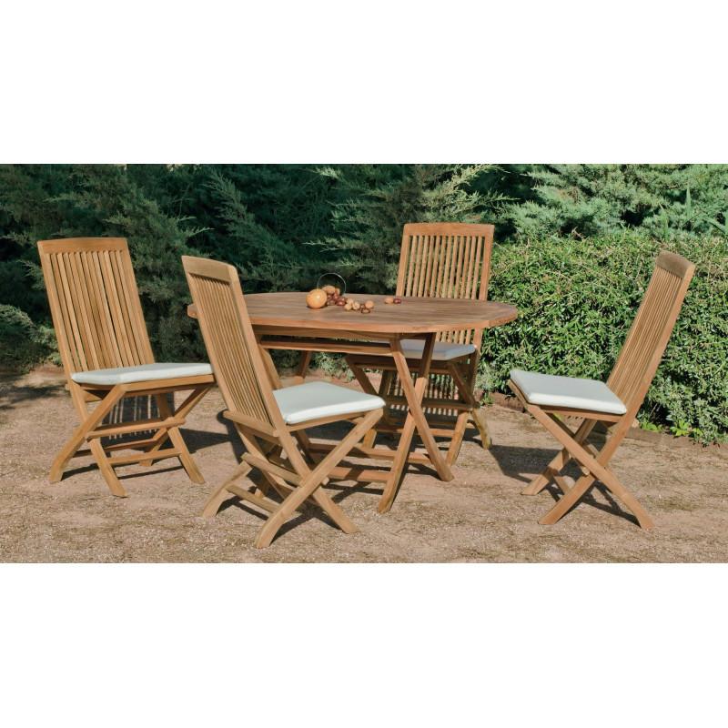 Achat vente salon de jardin bois teck table 140cm 4 chaises hevea mobilier de jardin - Salon de jardin en teck pliable ...