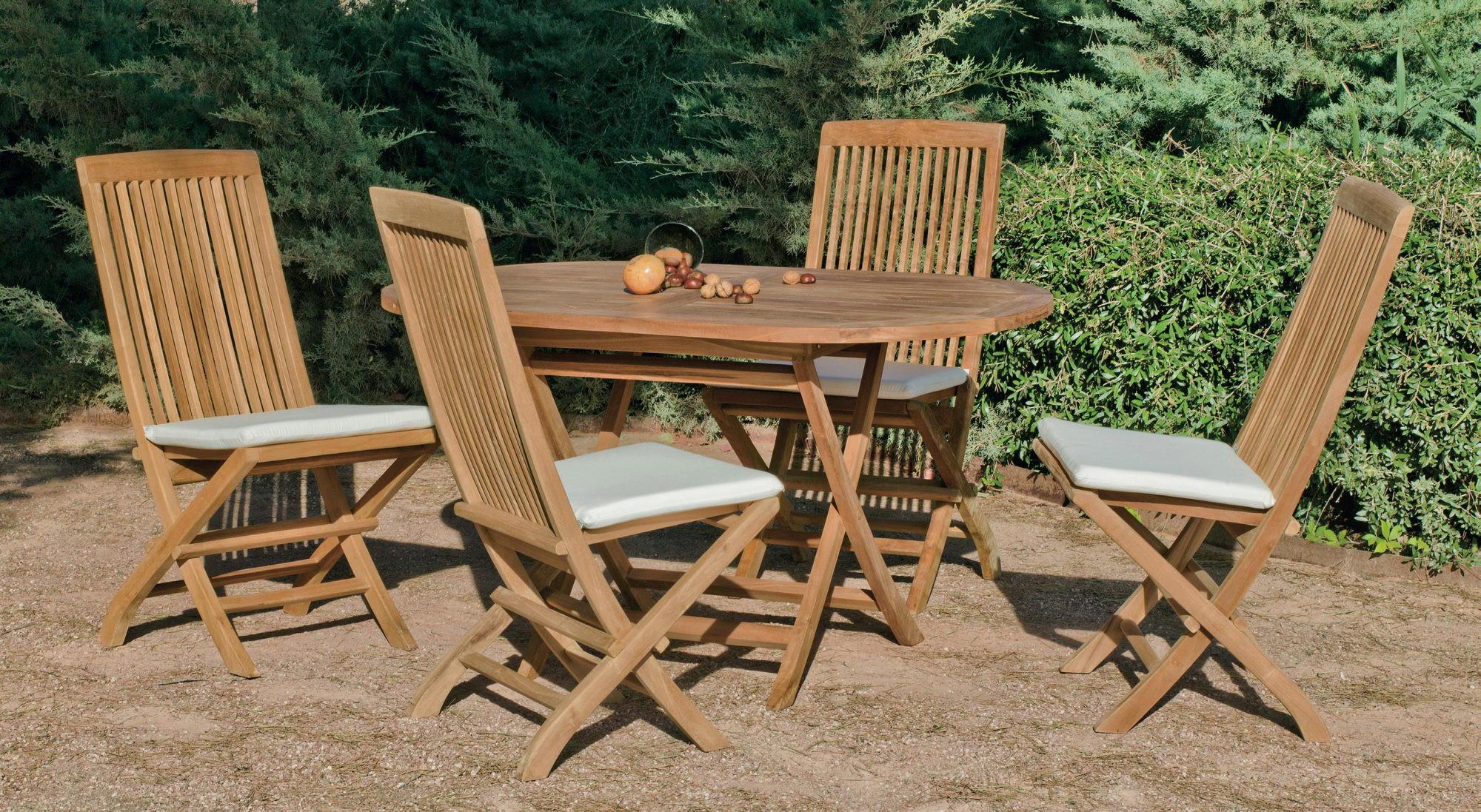 achat vente Salon de jardin Bois TECK Table 140cm + 4 ...