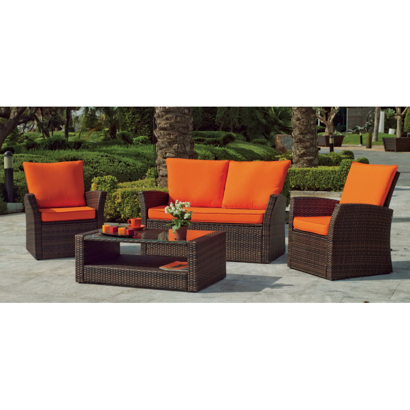 salon de jardin alpes 4 places r sine tress e hevea mobilier de jardin. Black Bedroom Furniture Sets. Home Design Ideas