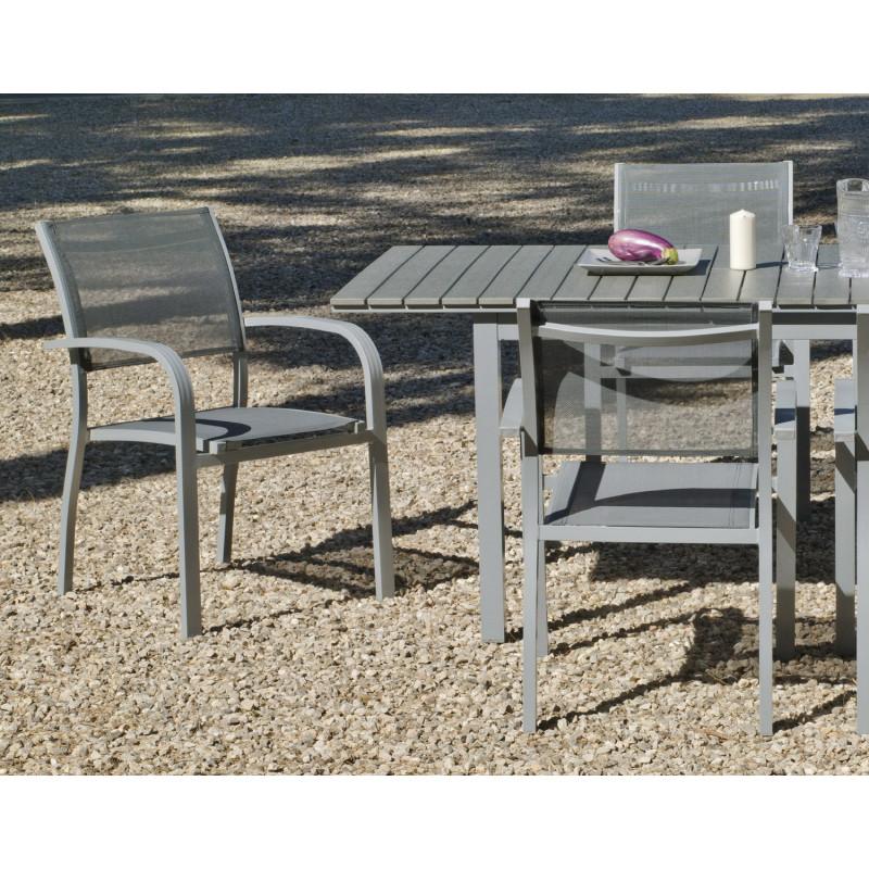Salon de Jardin Alu table extensible 150-200cm + 6 Fauteuils ...