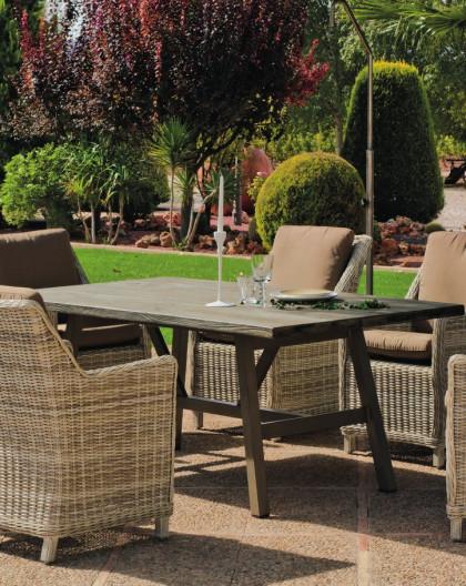 Salon de Jardin Table RESINBOIS 180cm + 6 places | Résine tressée | HEVEA  mobilier de jardin