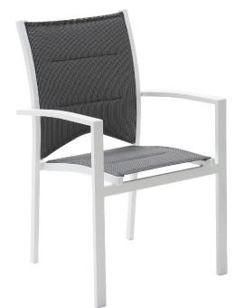 Fauteuil de jardin fauteuil à manger Modulo 1 place(s) Blanc - Gris Perle