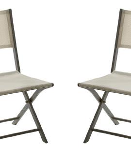 Chaise de jardin chaise à manger Modulo 1 place(s) Taupe - Lot de 2