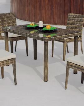 Salon de Jardin ABASARI 4 places Table 130x80cm