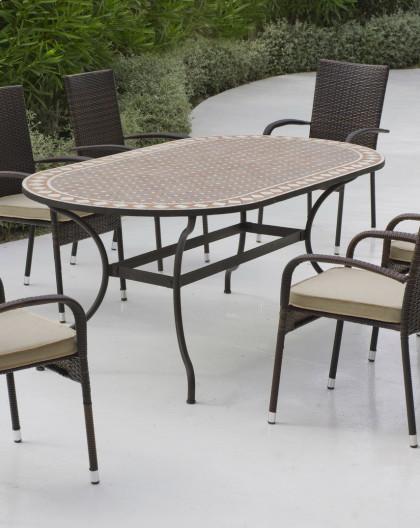 placesTable Salon mobilier jardin MosaiqueHEVEA de BERGAMO ALTAMIRA 6 Jardin de bgy6Yf7