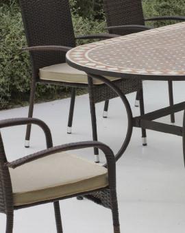 Table à manger, Chaises en Fer Forgé et mosaïque pour jardin ...