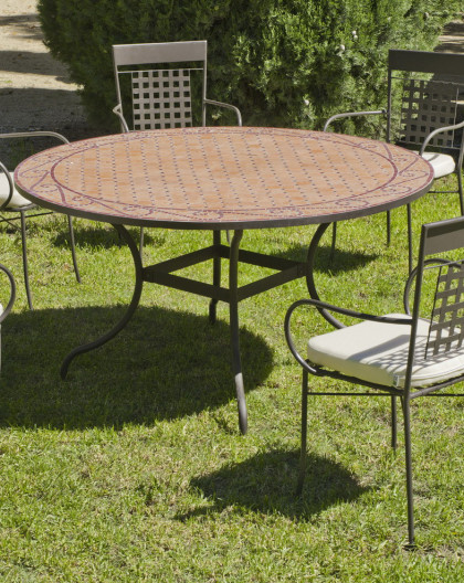 Salon de Jardin table Mosaique Ø140 + 6 Fauteuils | Table Mosaique | HEVEA  mobilier de jardin