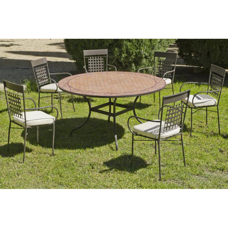 Salon de Jardin table Mosaique Ø140 + 6 Fauteuils | Table ...
