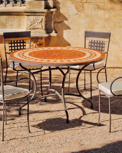 Salon de Jardin LORNY-VIGO 4 places   Table Mosaique   HEVEA ...