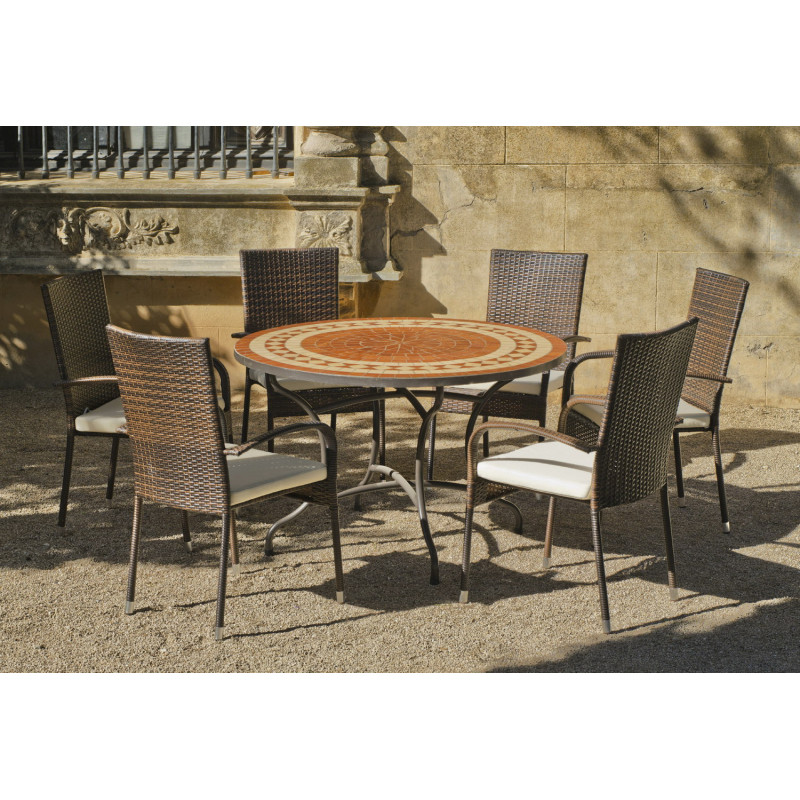 salon de jardin lorny bergamo 6 places table mosaique hevea mobilier de jardin. Black Bedroom Furniture Sets. Home Design Ideas