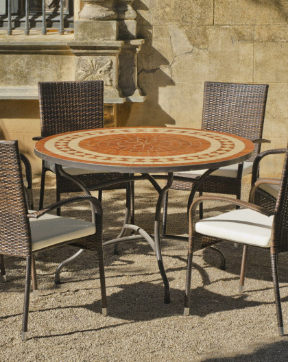 Salon de Jardin LORNY-BERGAMO 4 places | Table Mosaique | HEVEA ...