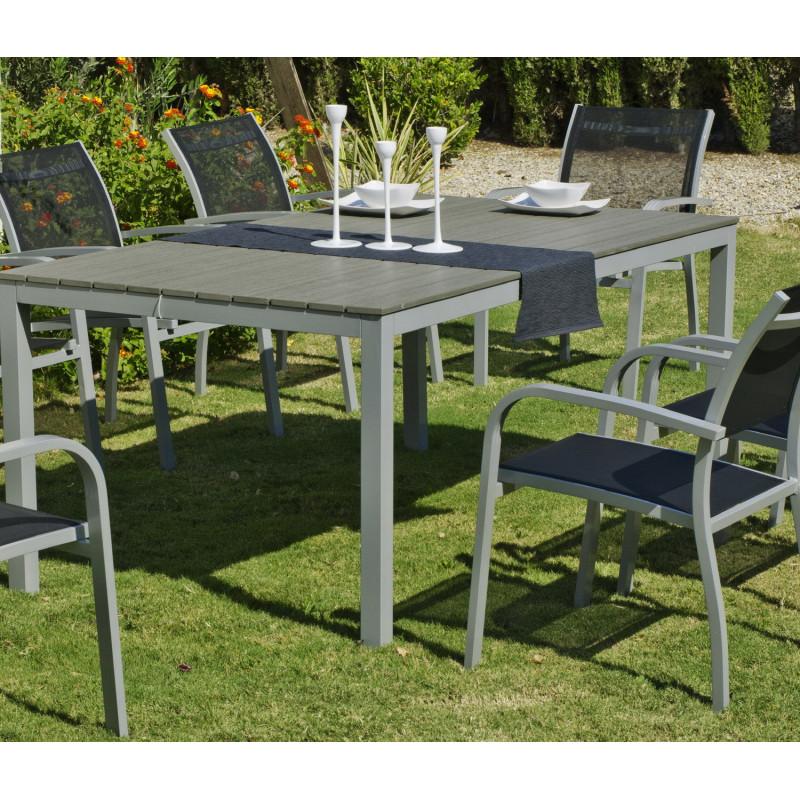 salon de jardin denis amberes 8 places aluminium hevea mobilier de jardin. Black Bedroom Furniture Sets. Home Design Ideas