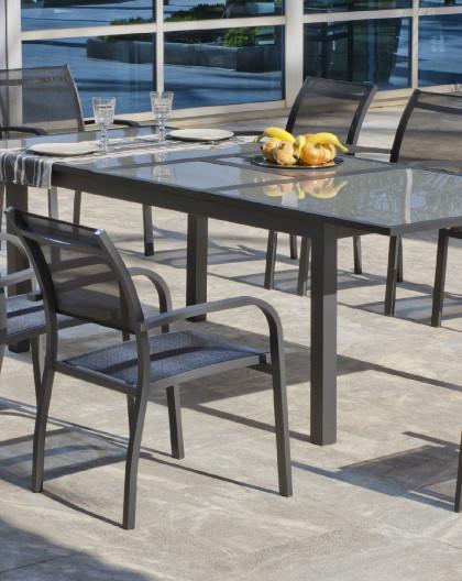 achat vente Salon de jardin Table extensible 180-240 avec 8 fauteuils |  HEVEA mobilier de jardin
