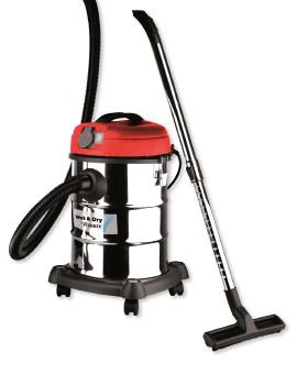Aspirateur eau-poussière 1200w-30L inox + prise machine