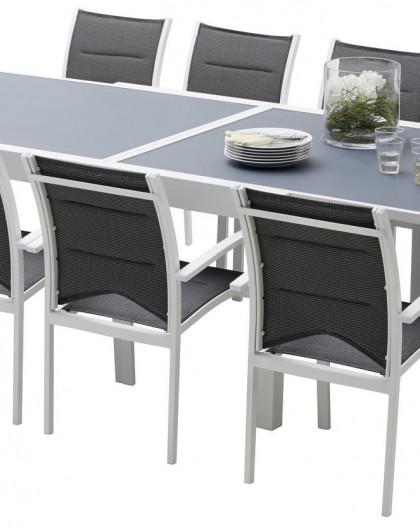Ensemble table et chaises-fauteuils Modulo 6 à 10 place(s) Blanc - Gris Perle