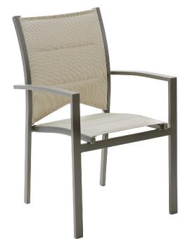 Fauteuil de jardin fauteuil à manger Modulo 1 place(s) Taupe