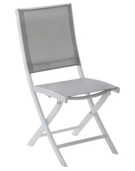 Chaise de jardin chaise à manger White Star 1 place(s) Blanc Gris