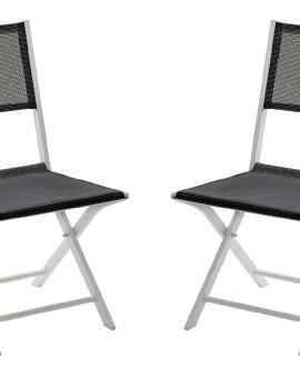 Chaise de jardin chaise à manger Modulo 1 place(s) Blanc - Gris Perle - Lot de 2