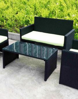 Salon de jardin Sofa 4 place(s) Noir Gris