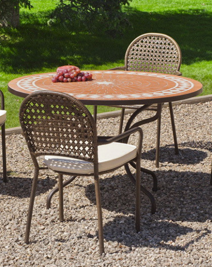 Salon de Jardin LORNY-BELFAST 4 places | Table Mosaique | HEVEA ...