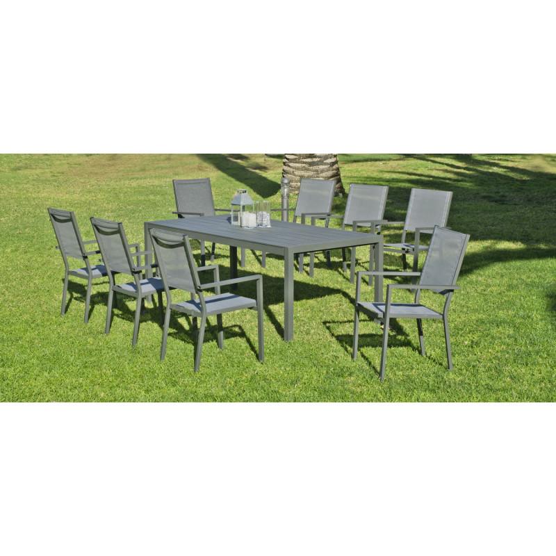 Salon de jardin ibiza 8 places aluminium hevea - Salon de jardin aluminium 8 places ...