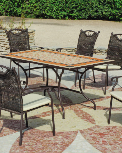 achat vente Salon de Jardin 6 places table 2m mosaique | HEVEA ...