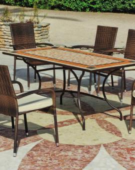Table mosaico ROLAND 200x100 + 6 fauteuils BERGAMO + coussins