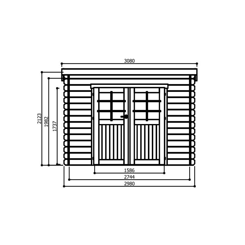 Abri de jardin BREST 8,88 m2 Dim. 2,98 x 2,98m mod. S8215 | SOLID Toutpourlamaison.fr bas prix