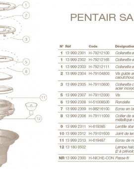 Collerette en Plastique Blanc pour Projecteur PENTAIR SAM