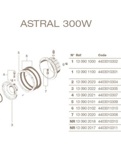 Collerette de Projecteur Chromée ASTRAL Standard 300W, avec Bride et Vis, 4403010301
