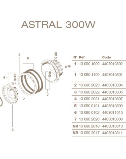 Joint Torique Projecteur ASTRAL Standard 300W