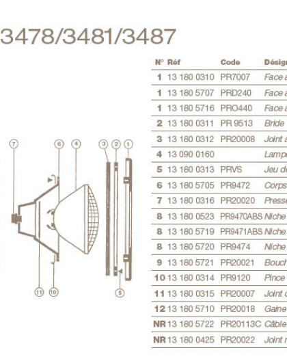 Lampe 12V-300W pour Projecteur COFIES 300W