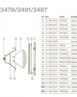 Presse Etoupe Corps/Niche pour Projecteur COFIES 300W
