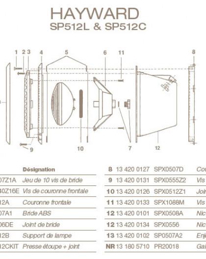 Jeu de Vis de Collerette pour Projecteur HAYWARD SP512