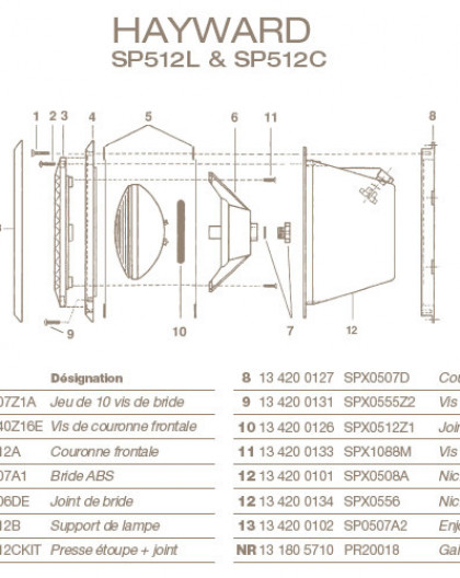 Support de Lampe pour Projecteur HAYWARD SP512