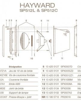 Couronne Arrière pour Projecteur HAYWARD SP512