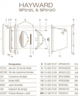Gaine pour Projecteur HAYWARD SP512