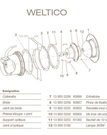 Presse Etoupe + Joint pour Projecteur WELTICO
