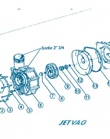 Nage à Contre courant - Moteur partie Avant - Num 9 - Turbine 2 3CV pour pompe 175M
